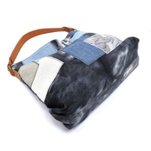 Bags - Denim Patchwork Shoulder Bag Hobo-Black